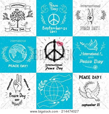 International peace day september 21 set of vector illustrations with doves, tree, hand gesturing peaceful sign, hands caring earth vector illustrations