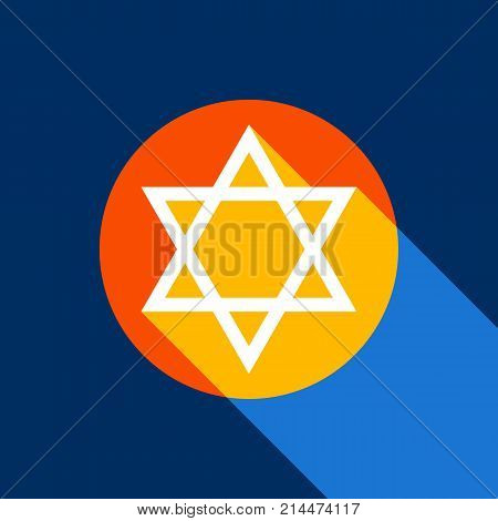 Shield Magen David Star. Symbol of Israel. Vector. White icon on tangelo circle with infinite shadow of light at cool black background. Selective yellow and bright navy blue are produced.