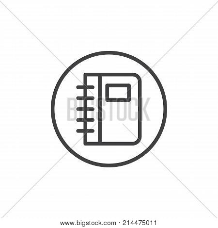Diary notebook line icon, outline vector sign, linear style pictogram isolated on white. Phonebook symbol, logo illustration. Editable stroke