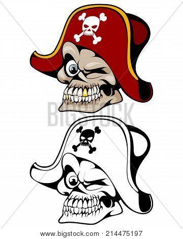 Vector illustration of pirate skull in hat