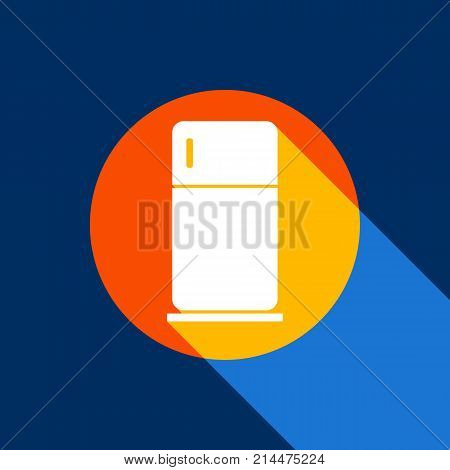 Refrigerator sign illustration. Vector. White icon on tangelo circle with infinite shadow of light at cool black background. Selective yellow and bright navy blue are produced.