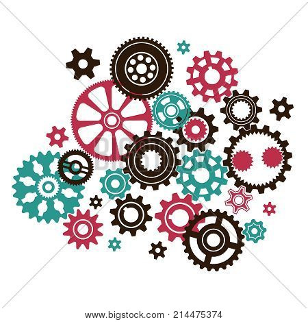 Complicated intricate clock mechanism from different in shape and size gears and cogwheels.