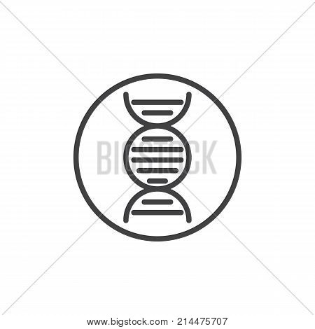 DNA molecule line icon, outline vector sign, linear style pictogram isolated on white. Deoxyribonucleic acid symbol, logo illustration. Editable stroke