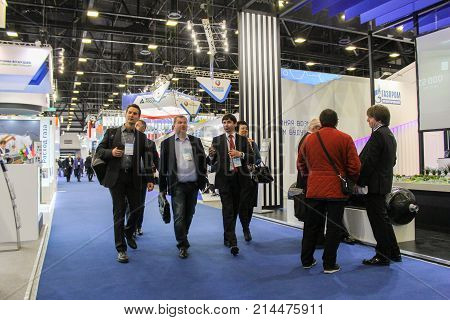St. Petersburg, Russia - 3 October, Group of visitors to the forum, 3 October, 2017. Participants and visitors of the annual St. Petersburg Gas Forum.