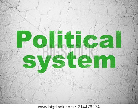 Political concept: Green Political System on textured concrete wall background