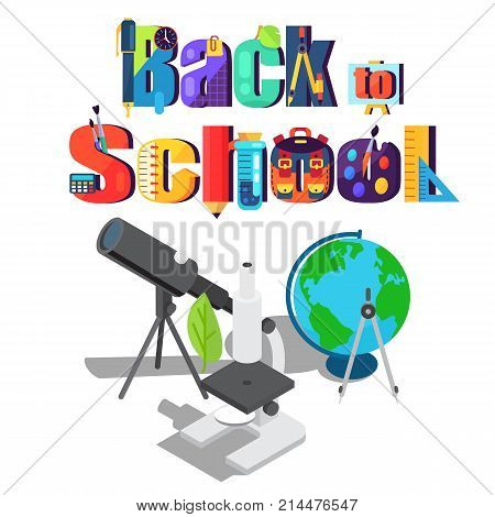 Back to school sticker with scientific objects. Isolated vector illustration of refractor telescope, modern microscope, geographical globe and compass