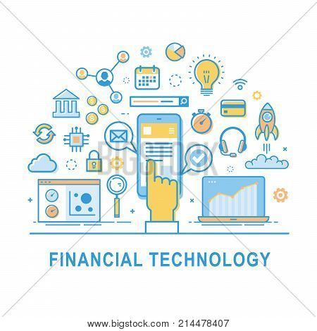 Financial technology vector fin-tech concept background with hand and smartphone. Icon set for infographic.