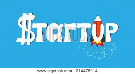 Startup technology concept. Thin line art style design for startup banner. Hand drawn cartoon vector illustration. Cartoon of business startup word lettering typography. Design for business