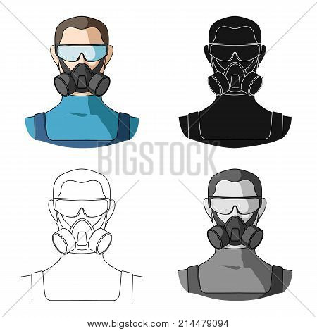 A man in a raspirator and glasses single icon in cartoon, black, outline, monochrome style for design.Pest Control Service vector symbol stock illustration .