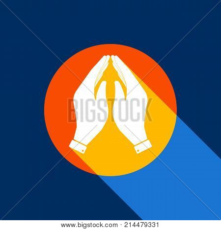 Hand icon illustration. Prayer symbol. Vector. White icon on tangelo circle with infinite shadow of light at cool black background. Selective yellow and bright navy blue are produced. poster