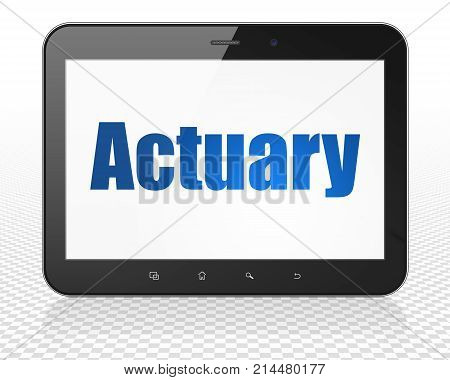Insurance concept: Tablet Pc Computer with blue text Actuary on display, 3D rendering