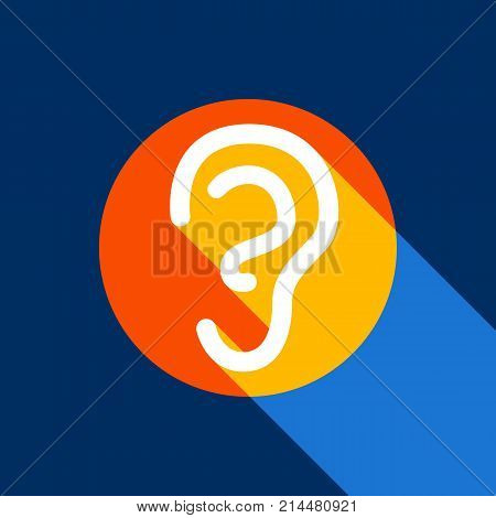 Human anatomy. Ear sign. Vector. White icon on tangelo circle with infinite shadow of light at cool black background. Selective yellow and bright navy blue are produced.