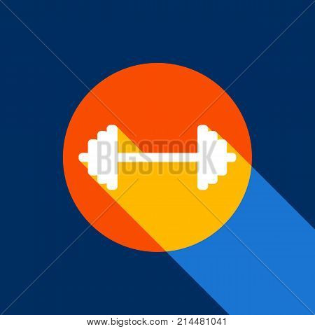 Dumbbell weights sign. Vector. White icon on tangelo circle with infinite shadow of light at cool black background. Selective yellow and bright navy blue are produced.