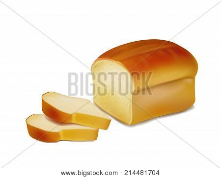 Bread, bakery icon, sliced fresh wheat bread isolated on white background,