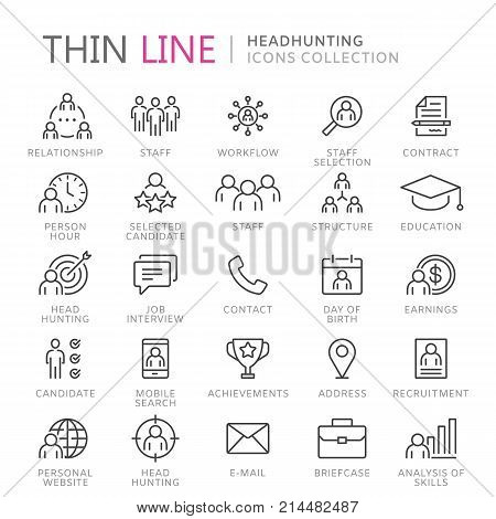 Collection of headhunting line icons. Vector eps8