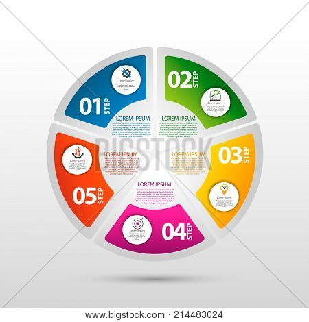 Infographics circular vector banner of 5 steps. Modern vector illustration with five steps pattern of balls bubbles for business presentations design education app