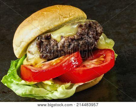 close up of rustic american slider sandwich mini hamburger