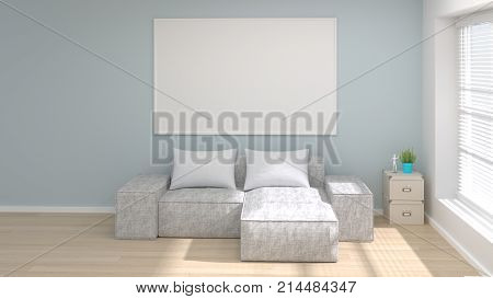mock up modern living room posters frame 3D rendering bright interior empty living room and white pillow