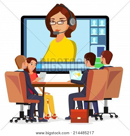 Video Meeting Online Vector. Woman And Chat. Ceo And Employees. Business Meeting, Consultation, Conference Office, Seminar, Online Training Concept. Flat Cartoon