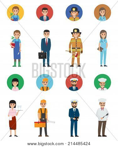 Set of vocations vector gardener with plant, young manager and lifesaver, doctor woman, waiter with tray, builder and mariner near cook