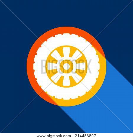 Road tire sign. Vector. White icon on tangelo circle with infinite shadow of light at cool black background. Selective yellow and bright navy blue are produced.