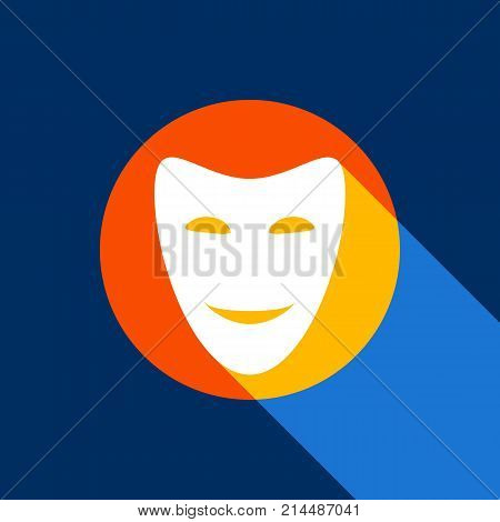 Comedy theatrical masks. Vector. White icon on tangelo circle with infinite shadow of light at cool black background. Selective yellow and bright navy blue are produced.