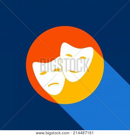 Theater icon with happy and sad masks. Vector. White icon on tangelo circle with infinite shadow of light at cool black background. Selective yellow and bright navy blue are produced.