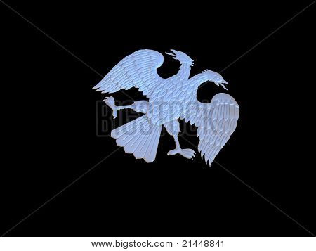 silver Russian double-headed eagle on black background poster