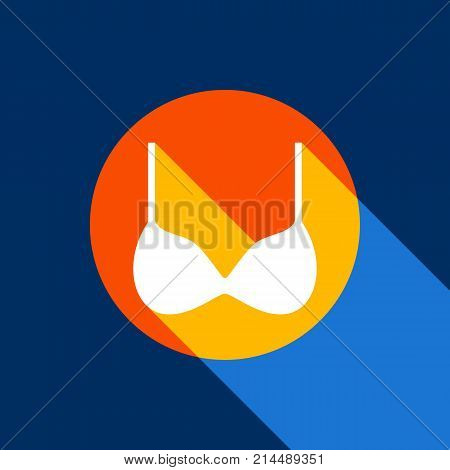 Bra simple sign. Vector. White icon on tangelo circle with infinite shadow of light at cool black background. Selective yellow and bright navy blue are produced. poster