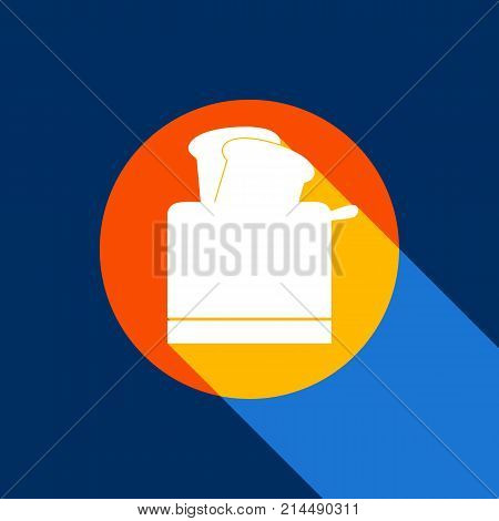 Toaster simple sign. Vector. White icon on tangelo circle with infinite shadow of light at cool black background. Selective yellow and bright navy blue are produced.