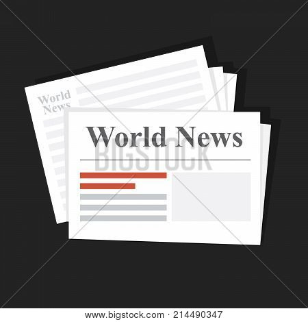 Stack of news newspapers. World News. Daily or weekly printed edition. Distribution of financial and international news. Flat vector illustration