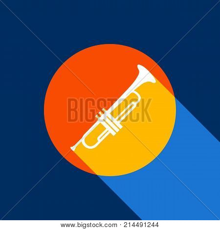 Musical instrument Trumpet sign. Vector. White icon on tangelo circle with infinite shadow of light at cool black background. Selective yellow and bright navy blue are produced.