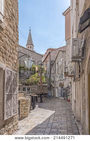 BUDVA MONTENEGRO - SEPTEMBER 26 2017: Budva's old town or stari grad is something like a mini Dubrovnik and star attraction for Montenegro's tourist season.