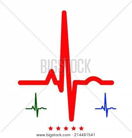Heart Rhythm Ekg Icon .  Flat Style