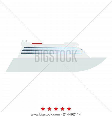Transatlantic Cruise Liner Icon .  Flat Style