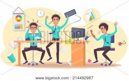 Angry person at work vector illustration. Grumpy male hold hands on head, irate guy throw keyboard, annoyed businessman scream into cellphone