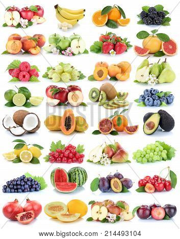 Fruits Fruit Collection Fresh Orange Apple Apples Strawberry Melon Grapes Isolated On White