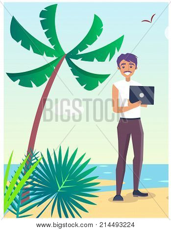 Business travelling poster with man freelancer holding notebook in hands on seaside vector illustration. Male with gadget on seaside