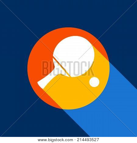 Ping pong paddle with ball. Vector. White icon on tangelo circle with infinite shadow of light at cool black background. Selective yellow and bright navy blue are produced.