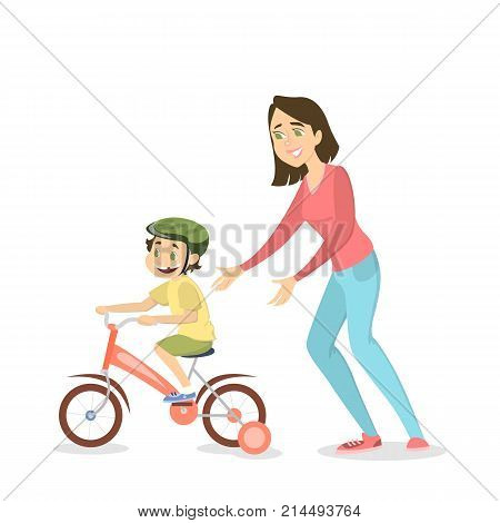 Mother teaching boy to ride the bike on white background.
