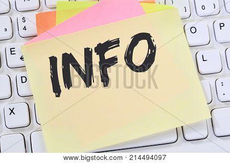 Info Information Message News Announcement Announce Business Concept Note Paper
