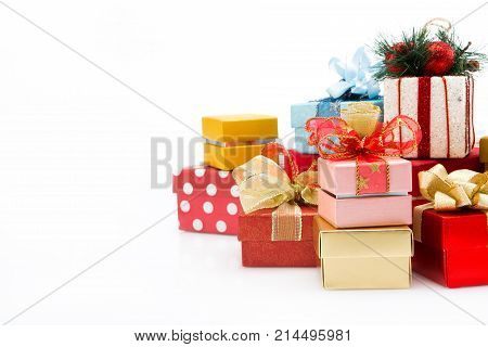 Pile Of Colorful Gift Boxes Isolated On White Background