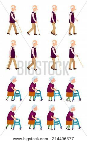 Old people banner with grandpa holding walking stick and grandma with helping walkers process of movement vector illustrations set isolated on white.