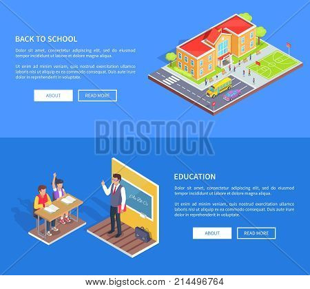 Back to school education posters with isometric vector of educational institution area and classroom with male teacher and attentive students