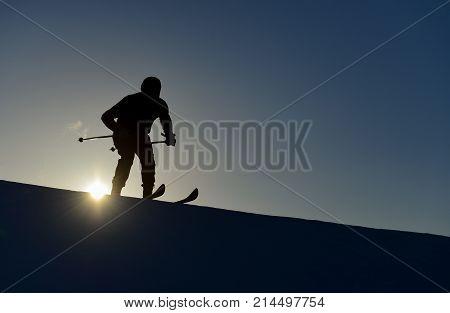 ski athlete silhouette & skier's adventure & skier