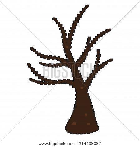 Pixelated naked tree isolated on white background, Vector illustration