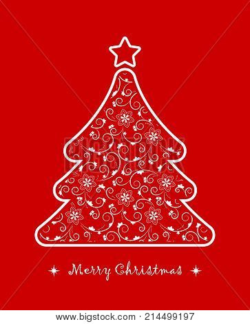 vector christmas tree with floral pattern isolated on red background