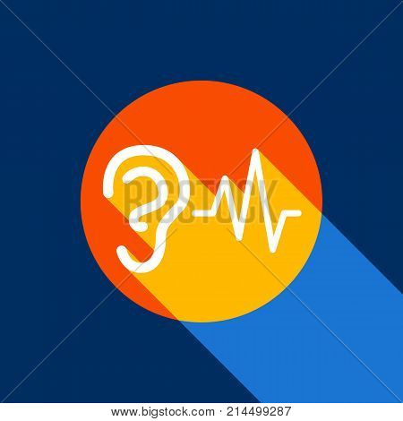 Ear hearing sound sign. Vector. White icon on tangelo circle with infinite shadow of light at cool black background. Selective yellow and bright navy blue are produced.