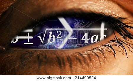Zoom into eye iris math equations and formulas flying and disappearing in distance. Science and mathematical research and development concept.