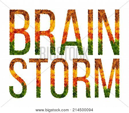 Brainstorm word is written with leaves white isolated background, banner for printing, creative illustration colored leaves brainstorm .